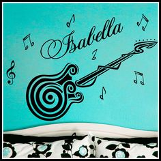 Personalized Name and GUITAR music notes Vinyl por SunshineGraphix, $20,99