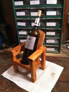 Thom's Mini Adirondack Chair Wine Bottle Holder - First, Thom made a mini pic. - Thom's Mini Adirondack Chair Wine Bottle Holder – First, Thom made a mini picnic table solar l - Diy Furniture Projects, Diy Wood Projects, Wood Crafts, Bottle Rack, Wine Bottle Holders, Wine And Liquor, Wine And Beer, Solar Light Crafts, Wine Caddy