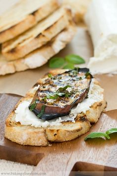 Summer Grilling: Grilled Eggplant (my favorite way) with Goat Cheese, Fresh Basil, and Fire-toasted Bread