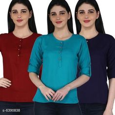 Tops & Tunics Women's Rayon Combo Tops Fabric: Rayon Sleeve Length: Three-Quarter Sleeves Pattern: Solid Multipack: 3 Sizes: S (Bust Size: 36 in Length Size: 26 in)  XL (Bust Size: 42 in Length Size: 26 in)  L (Bust Size: 40 in Length Size: 26 in)  M (Bust Size: 38 in Length Size: 26 in)  XXL (Bust Size: 44 in Length Size: 26 in) Country of Origin: India Sizes Available: S, M, L, XL, XXL   Catalog Rating: ★4.1 (11681)  Catalog Name: Women's Rayon Combo Tops CatalogID_1016457 C79-SC1020 Code: 014-6390838-2301