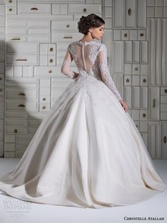 Chrystelle atallah bridal spring 2014 long sleeve ball gown wedding dress illusion. Back view.