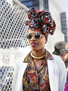 NYFW Street Style Spring 2016 - Paola Mathe's head scarf and deep red lipstick | allure.com