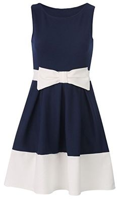 2743c67143 Red Olives Womens Ladies Contrast Panel Sleeveless Tie Bow Flared Skater  Dress UK 8-26 (20-22 Navy)