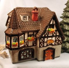 Christmas Decoration. House with Green Roof . Gables and Bay ...