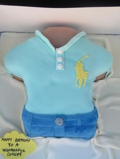 Male torso designer polo shirt cake