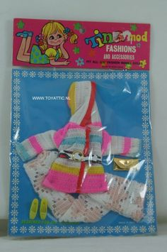 Barbie sized Tina Mod clone fashion colorful knitted set with accessories NRFB #tinamod