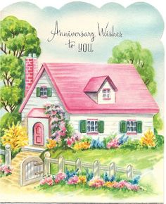 Anniversary wishes for you - vintage illustrations Storybook Cottage, Cottage Art, Vintage Greeting Cards, Vintage Postcards, Vintage Pictures, Vintage Images, House Illustration, Anniversary Cards, 2nd Anniversary