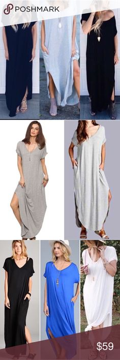 "1 DAY SALE Black Tie Dye Maxi Dress Slits BOHO ✂️Price Cut from $59✂️PRICE FIRM ❌BEST SELLER! Black Tie Dye Maxi Dress side Slits BOHO Cover Up. V neck maxi dress. ****Other SOLID colors available: White, Royal Blue, Black** MOST COMFY dress EVER! You'll never want to  take this dress off! Do a front/side tie for a fun look Lace Slip not included Loose fit Asymmetrical hem RAYON/SPANDEX 🇺🇸MADE IN USA   Chest, waist, lengt S: 22, 22 57.5"" M: 23, 23,  58 L: 24, 24, 59  DON'T OFFER MORE THAT…"