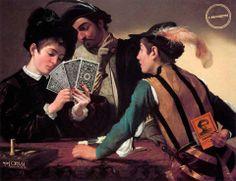 """«La creazione di un'opera di valore richiede sempre il gioco. Giocare vuol dire fabbricare, tentare, sperimentare.» E. Lasker, scacchista e matematico  [Il quadro con cui abbiamo giocato è di Caravaggio: """"I bari"""", olio su tela, 1594.]"""