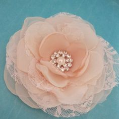 Blush Pink Lace, Organza Rose Hair Clip