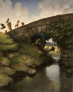 """I found this great painting by Justin Gerard of a troll lurking beneath a bridge from the """"Three Billy Goats Gruff"""" children's story. Online Illustration Course, Illustration Courses, Children's Book Illustration, Book Illustrations, Character Illustration, Fantasy Paintings, Fantasy Art, Dream Fantasy, Bridge Drawing"""