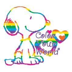 """Description: This Peanuts canvas art in a square format featured the beloved, Snoopy. Illustrated in a rainbow of colors, Snoopy shares the message """"Color Your World."""" Perfect for a child's bedroom or"""