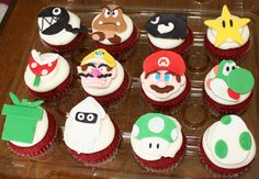 Mario cupcakes. Good closeup on shapes used.