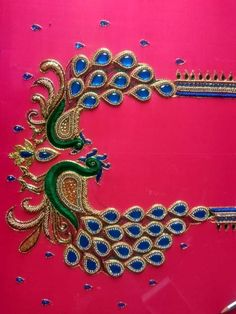 Peacock Blouse Designs, Peacock Embroidery Designs, Cutwork Blouse Designs, Simple Blouse Designs, Peacock Design, Saree Jacket Designs, Saree Kuchu Designs, Zardosi Embroidery, Tambour Embroidery