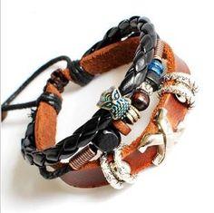 Couple Bracelet Unisex Leather Bracelet Jewelry Bangle bracelet women Leather Bracelet Girl Ropes Bracelet Men Leather Bracelet  670A. $8,00, via Etsy.