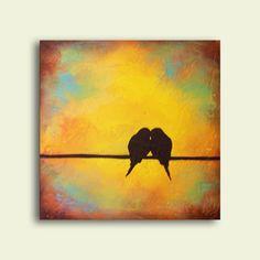 Getextureerde zeer minimale aangepaste vogels op een draad schilderij ~ handtekening Laura Sue Art  Perfecte gift voor paren  Rustieke, textuur en aardetinten - minimale romantiek van twee vogels op een draad - ideaal voor huwelijksgeschenk, verjaardag of gewoon herinnering in uw ruimte van de kracht van liefde. Handtekening kunst uit Laura Sue ~ zoals gezien op HGTV en talloze blogs sinds 2006  Afmetingen: 12 x 12  Gallery gewikkeld doek met randen geschilderde donkerste espresso bruin…