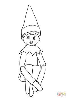 Christmas Elf on Shelf coloring page | Free Printable Coloring Pages