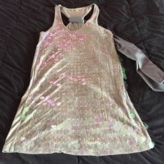 F21 Sequin racer back tunic Iridescent sequence & back bow detail Forever 21 Tops Tunics