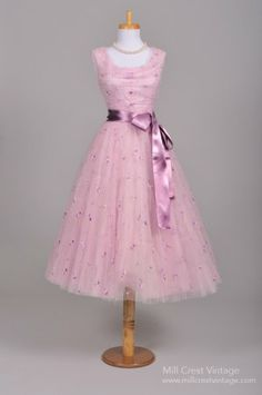 1950's party dress in silk  embroidered lilac net over a layer of lilac tulle