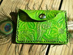 handmade leather wallet / coin purse / tooled leather. $25.00, via Etsy.