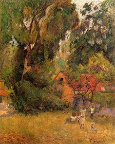 'Huts Under The Trees' (1887), Eugène-Henri-Paul Gauguin.