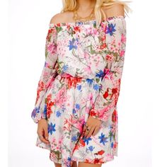 """FLORAL DRESS Printed Off Shoulder Bohemian Swing Available Sizes: Small, Medium, Large.  New with tags.     - Gorgeous floral printed off-the-shoulder mini dress featuring a swingy silhouette. - Sheer shell, lined body, elastic waist, neckline & sleeve cuffs.  - Perfect for dressing up or down!   Polyester. Made in the USA.       {Southern Girl Fashion - Closet Policy}   ✔Bundle discount: 20% off 2+ items.   ✔️ Reasonable offers are considered when submitted using the """"offer"""" button.   ❌ No…"""