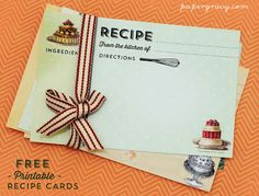 Free Printable Vintage Recipe Cards! Created by Paper Gravy for The Graphics Fairy!