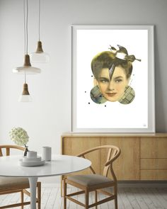 Original collage artwork by MANGT in Scandinavian interior.