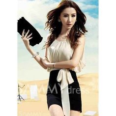 $6.52 Elegant Sleeveless Chiffon Splicing Party Dresses For Women