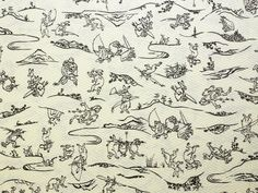 Rabbits and Frogs in Japanese Fabric. #ChojuJinbutsuGiga #Nagajuban #TORAY #鳥獣戯画