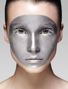 Silver & Black Makeup Looks Makeup Inspo, Makeup Art, Makeup Inspiration, Hair Makeup, Robot Makeup, Make Up Looks, Black Makeup Looks, Beauty Make-up, Maquillage Halloween