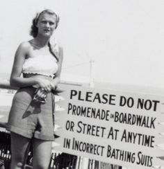 """1940s beach life-- I bet ALL of today's suits would be """"incorrect."""""""