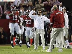 Alabama head coach Nick Saban celebrates as Alabama makes a 4th down stop in the fourth quarter against Auburn at Bryant-Denny Stadium in Tuscaloosa, Ala. on Saturday Nov. 29, 2014. Alabama won the game by a score of 55-44. staff photo | Robert Sutton