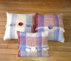 My woven pillows from Crafty's class.