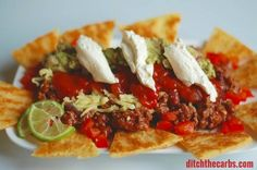Fat Head nachos. Absolutely a stroke of genius. Low carb, grain free nacho heaven. | ditchthecarbs.com
