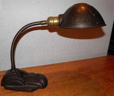 Goose Neck Table Desk Lamp Cast Iron Base Industrial Age SteamPunk 1920s $10 OFF