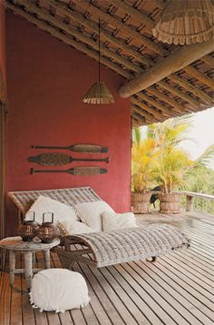 covered deck + double chaise lounge + lanterns + pink