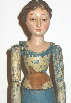 Folk Art: Carved Wood Figure of a Woman