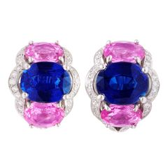 Tanagro Blue and Pink Sapphire and Diamond Earclips | From a unique collection of vintage clip-on earrings at http://www.1stdibs.com/jewelry/earrings/clip-on-earrings/