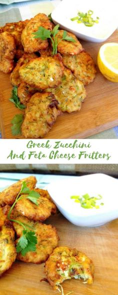 Looking for a healthy snack to serve on your next gathering? These finger licking good zucchini fritters is one of  the easiest and healthiest solution for you. Served with a refreshing Greek yogurt and mayonnaise dip.Yum #zucchini, #appetizer, #food, #greekyogurt, #healthy, #snack