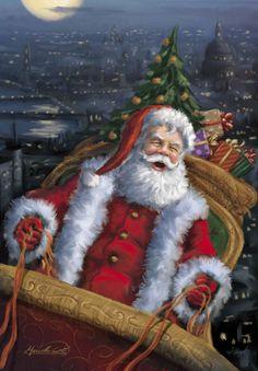 Santa in His Sleigh - art by Marcello Corti, via advocate-art