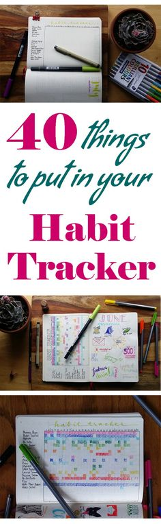 health habits A habit tracker is an amazingly simple tool that helps you make progress toward your goals. You can keep an eye on health, productivity, and a work/fun balance with ease. Here are 40 things to track in your habit tracker to get you started! Planner Bullet Journal, How To Bullet Journal, Bullet Journal Inspiration, Life Planner, Happy Planner, Bullet Journals, Trip Planner, Bujo, Journal Layout