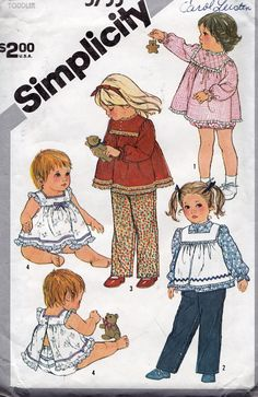 Simplicity 5733 Toddlers' PullOn Pants Top and by tealducktoo, $4.95