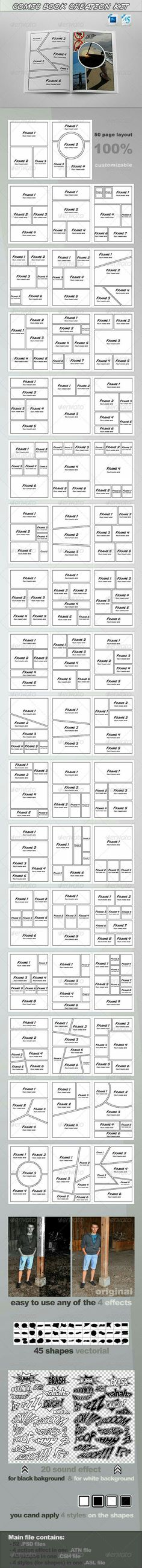 ComicBook Creation Kit Detail: 50 page templates size) & sound effects (two tipe , for black & white background) in 52 . Comic Book Layout, Comic Books Art, Book Art, Comic Art, Doodle Drawing, Manga Drawing, Drawing Tips, Comic Tutorial, Web Design