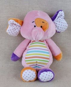 Baby-Ganz-10-Elephant-Plush-Pink-Stripes-Polka-Dots-Lovey-Toy-Stuffed-Animal