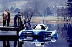 The Bluebird K7 is a turbo jet engined hydroplane with which Britain's Donald Campbell set seven world water speed records (WSR) during the later half of the 1950s and the 1960s. K7 was the first successful jet-powered hydroplane, and was considered revolutionary when launched in January 1955. https://en.wikipedia.org/wiki/Bluebird_K7 https://www.youtube.com/watch?v=g0aDB4Rdlzc