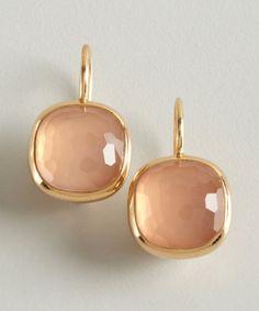 Pomellato gold and rose quartz 'Cipria' estate earrings