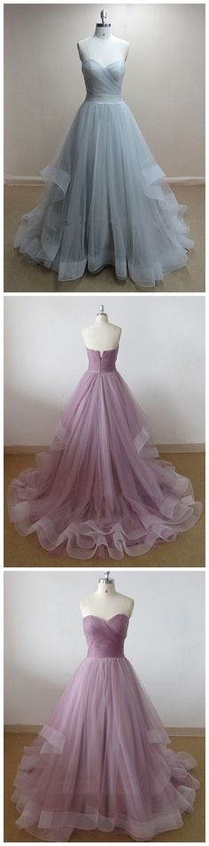 Simple Elegant A-line Sweetheart Ruched Tulle Long Prom Dress/Party Dress TUPD-30994
