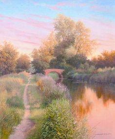 Graham Petley Direct Bridge on River Chelmer in Essex - Originals Throughout The World, Impressionist, Britain, Country Roads, River, Fine Art, Landscape, Gallery, Graham
