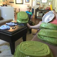DIY Teenage Mutant Ninja Turtle Shells | TMNT Birthday Party Decorations | DIY TMNT Costume | www.madewithHAPPY.com